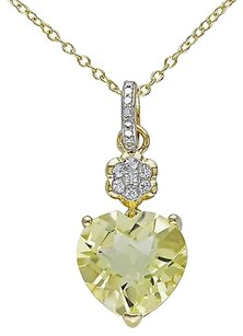 Other Yellow Sterling Silver Diamond And Lemon Quartz Topaz Heartpendant Necklace