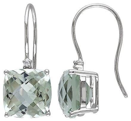 Other 10k White Gold Diamond And 8 Ct Green Amethyst Shepard Hook Earrings Gh I2i3