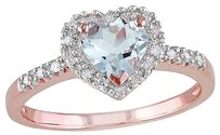 Pink Sterling Silver 110 Ct Diamond And 58 Ct Aquamarine Heart Love Ring