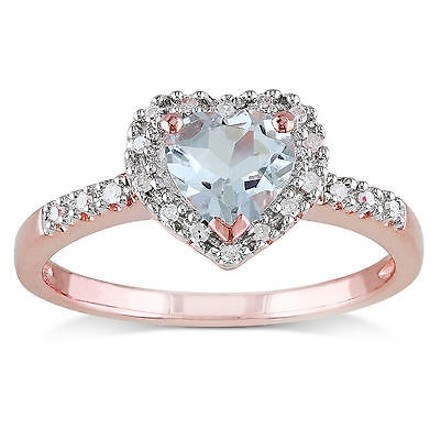 Other Pink Sterling Silver 110 Ct Diamond And 58 Ct Aquamarine Heart Love Ring
