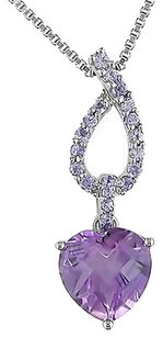 Sterling Silver 4 Ct Amethyst Tanzanite Heart Love Pendant Necklace