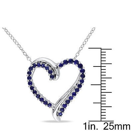 Other Sterling Silver 34 Ct Created Blue Sapphire Heart Love Pendant Necklace