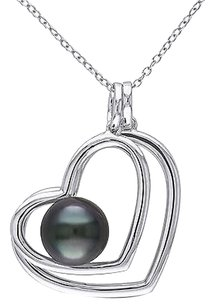 Other Sterling Silver 9.5 - 10 Mm Black Tahitian Pearl Heart Love Pendant Necklace