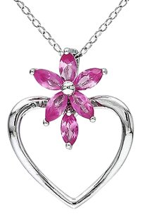 Sterling Silver 1 12 Ct Pink Sapphire Heart Love Flower Nature Pendant Necklace
