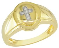 Other Sterling Silver 0.06 Ct Tdw Diamond Yellow Rhodium Plated Religious Ring G-h I3