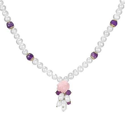 Other Silver Rose Quartz Amethyst 7-8 Mm Freshwater White Pearl Necklace 18