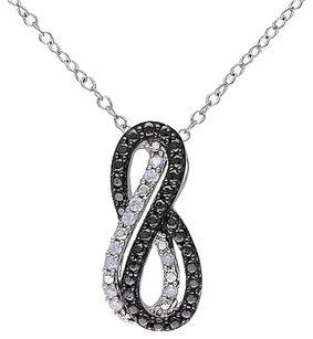 Sterling Silver 110 Ct Diamond Crossover Swivel Infinity Pendant Necklace