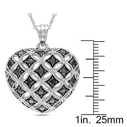 Other Sterling Silver 1 Ct Black Diamond Tw Heart Love Pendant Necklace
