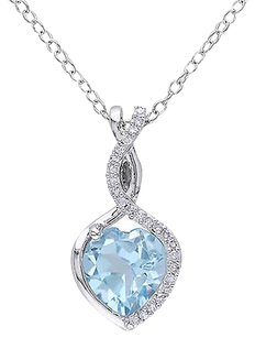 Sterling Silver 110 Ct Diamond And Blue Topaz Heart Pendant Necklace Gh I2i3