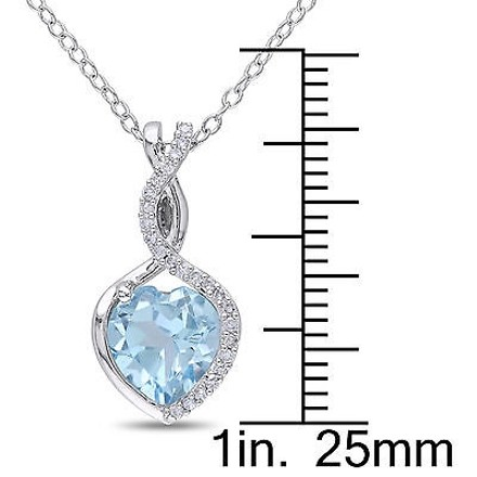 Other Sterling Silver 110 Ct Diamond And Blue Topaz Heart Pendant Necklace Gh I2i3