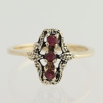 3-stone Vintage Style Ruby Ring - 10k Yellow Gold Womens Fine Estate 0.24ctw