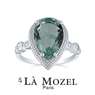 Other 4.0ctw 18K White Gold plated Pear Cut Simulated Green stone Ring