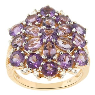 Other 4.11ct Amethyst 14k Yellow Gold And Diamond Cocktail Ring 5-8