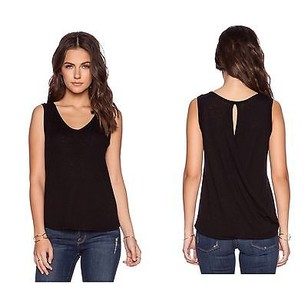 Splendid Drape Back Keyhole Cotton Top Black