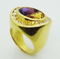 Other 6.32 Carats Tcw Vs1-2 G-h Diamonds Moon Cut Amethyst Citrine Ring 5.25 R122