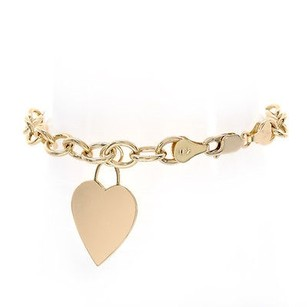 6.6mm Ladies 14k Yellow Gold Round Link Chain Bracelet With A Heart Charm