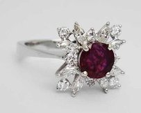Other 750 White Gold 1ct Vs2 G-h Diamond 1.15ct Ruby Ring 14 R97