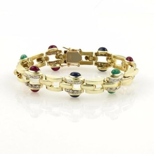 7.75ct Diamonds Ruby Sapphire Emerald 14k Yellow Gold Bracelet