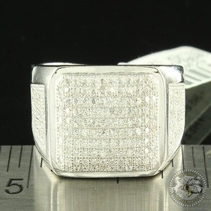 80s Tv Style Men Broad Square Face Pave Lab Diamond Custom Fashion Band Ring 925