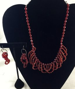 Other .925 Sterling Silver Red Beaded Necklace And Earrings 16
