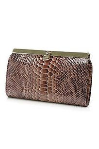 Abas Brown Snake Embossed Patent Leather Sassy Accordion Wallet