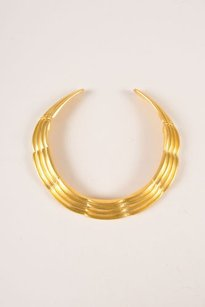 Alexis Kirk Gold Tone Textured Articulated Choker Necklace