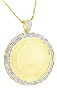 Allah Medallion Pendant Round 14k Gold Finish 925 Silver Simulated Diamond Chain