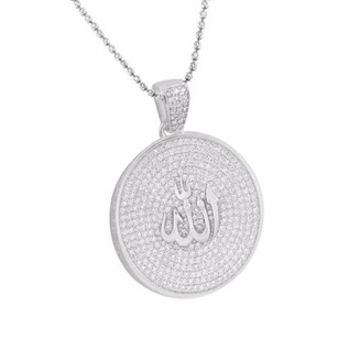 Other Allah Pendant Moon Cut Chain White Gold Finish 925 Silver Simulated Stones