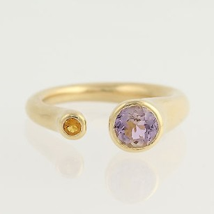 Amethyst Citrine Open Band Ring - 18k Yellow Gold February November .78ctw