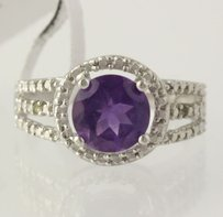 Amethyst Cocktail Ring - Sterling Silver Diamonds Genuine Womens Round