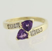 Amethyst Diamond Bypass Ring - 10k Yellow White Gold February .81ctw