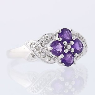 Amethyst Ring W Diamond Accents - Sterling Silver 925 Woven Band .80ctw