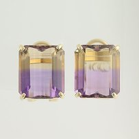 Ametrine Stud Earrings - 14k Yellow Gold Non-pierced 18.42ctw