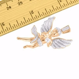 Angel Wing Pendant Solitaire Simulated Diamond Rose Gold Finish Sterling Silver