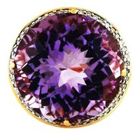 Antique Outstanding Amethyst with Diamonds & Pink Sapphires Ring in 18k Rose Gold