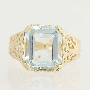 Aquamarine Cocktail Ring - 14k Yellow Gold March Birthstone 4.35ct