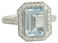 Aquamarine Diamond Cocktail Ring - 14k White Gold Halo 3.50ctw