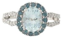 Aquamarine Diamond Ring - 10k White Gold March Birthstone Halo 2.25ctw