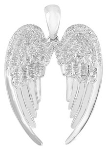 Archangel Wings Diamond Pendant Sterling Silver 925 Unique Charm Mens Celeb Wear