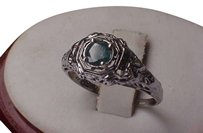 Art Deco 18k White Gold .50ct Blue Diamond & Emeralds Filigree Ring