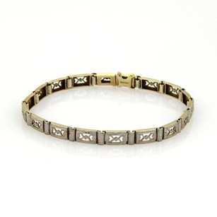 Art Deco Platinum 14k Yellow Gold Open Milgrain Design Bracelet