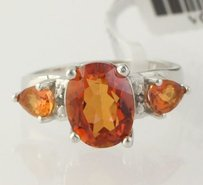 Azotic Topaz Three Stone Ring - Sterling Silver Diamond Womens 2.66ctw