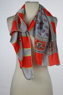 Baar Beards Inc Womens Red Gray Scarf Os One Printed Silk Casual