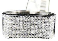 Mens 10k White Gold Round Cut White Pave Diamond Wedding Band Ring 34 Ct