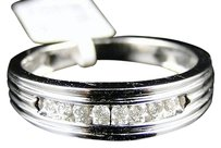 14k Mens White Gold Round Cut Channel Set Diamond Wedding Band Ring 14 Ct