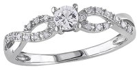 Other 10k White Gold 110 Ct Diamond And 14 Ct White Sapphire Crossover Ring Gh I2i3