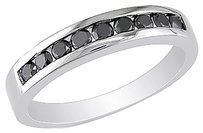 Other Sterling Silver 12 Ct Black Diamond Eternity Channel Band Fashion Ring 925