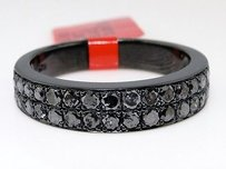 Mens Black On Black Pvd Band Mm Black Diamond Wedding Pinky Ring 1.40 Ct