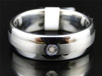 Mens Tungsten Carbide Diamond Satin Finish Wedding Band Engagement Ring 8mm