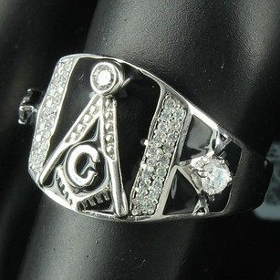 Masonic G Ring Sterling Silver Classic Simulated Diamond Men Mason Band
